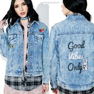 Honey Punch 'Good Vibes Only' jean jacket